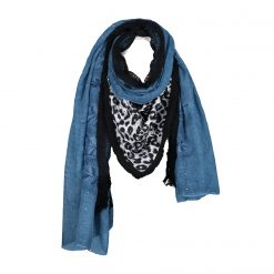 Blue Leo Luipaard Print Sjaal